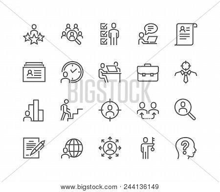 poster of Simple Set Of Head Hunting Related Vector Line Icons. Contains Such Icons As Job Interview, Career P