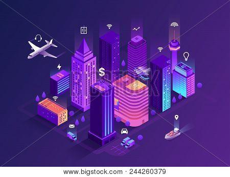 Smart City Isometric Illustration Intelligent