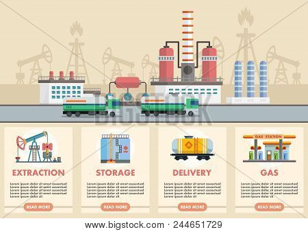 poster of Vector Illustration Infographic Of Stages Of Oil Production Of Oil And Gasoline With Image Of Oil Ri