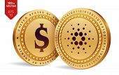 Cardano. Dollar Coin. 3d Isometric Physical Coins. Digital Currency. Cryptocurrency. Golden Coins Wi poster
