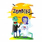 Zombies Wedding Poster With Funny Married Zombie Couple In Cartoon Style. Halloween Zombie Horror Fa poster