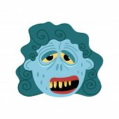 Female Zombie Monster Icon In Cartoon Style. Halloween Undead Sign, Horror Corpse Head Avatar, Zombi poster