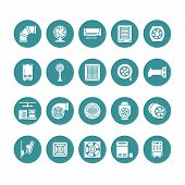 Ventilation Equipment Glyph Icons. Air Conditioning, Cooling Appliances, Exhaust Fan. Household And  poster