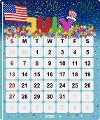 Постер, плакат: Ежемесячный настенный календарь Июль 2008