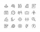 Simple Set Of Head Hunting Related Vector Line Icons. Contains Such Icons As Job Interview, Career P poster