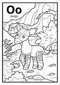 Coloring Book For Children, Colorless Alphabet. Letter O, Okapi poster