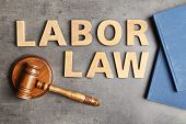Flat Lay Composition With Words Labor Law On Grey Background poster
