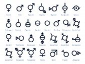 Collection Of Gender Icons Or Signs For Sexual Freedom And Equality In Modern Society. 29 Symbols Fo poster