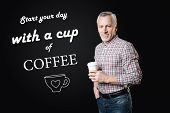 Tasty Coffee. Middle Aged Responsible Manager Wearing Casual Clothes And Feeling God While Drinking  poster