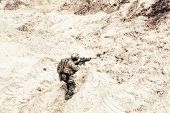 Постер, плакат: Special Operations Forces Soldier Us Army Infantryman Carefully Sneaking Walking With Service Rifl
