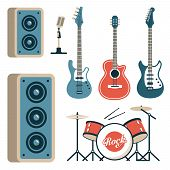 Musical Instruments For Rock Band - Acoustic, Electric And Bass Guitars, Drum Set, Microphone And Sp poster