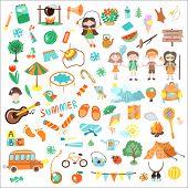 Kids Camping Cartoon Vector Illustration. Set Of Kids Camp Elements And Icons, Cartooning Illustrati poster