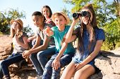 Group Of Children With Binoculars Outdoors. Summer Camp poster