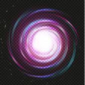 Spiral Purple Magic Galaxy Background. Bright Swirl Purple Space On Black Background. Galaxy Storm V poster