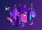 Smart City Isometric Illustration. Intelligent Buildings. Streets Of The City Connected To Computer  poster