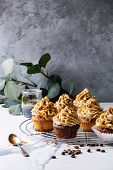 Fresh Baked Homemade Cupcakes With Coffee Buttercream And Caramel Standing On Cooling Rack With Euca poster