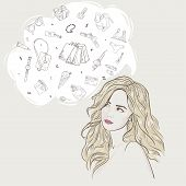 Young Attractive Woman Portrait. Drawn Elegant Lady Dreaming Shopping. Hand Drawn Sketch, Purchases  poster