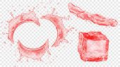 Set Of Translucent Semicircular Water Splashes With Drops, Jet Of Liquid And Ice Cube In Red Colors, poster