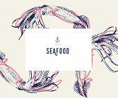 Seafood Banner Set. Hand Drawn Squid. Vector Restaurant Menu. Marine Food Banner, Flyer Design. Engr poster
