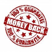 Money Back Guarantee Stamp Rubber Isolated On White. Vector Round Form Imprint Scratched Illustratio poster