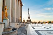 Eiffel Tower From The Gardens Of The Trocadero Square At Sunrise, Paris France poster