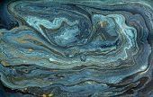 Marble Abstract Acrylic Background. Blue Marbling Artwork Texture. Agate Ripple Pattern. Gold Powder poster