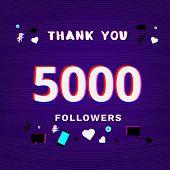 5000 Followers Thank You Post On Dark Background With Random Items. Glitch Chromatic Aberration Tren poster
