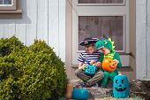 Halloween Kids Sitting On Porch Trick Or Treating.  Teal Pumpkin Project. Alternative Non-food Treat poster