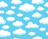 Cartoon Sky Pattern. Blue Skyline Vector Seamless Background With White Nubes Clouds For Spring Deco poster