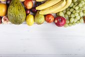 Fruit Background With Exotic Fruits On White Background, Fruit Detox, Space For Text poster