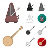 Musical Instrument Cartoon, Black, Flat, Monochrome, Outline Icons In Set Collection For Design. Str poster