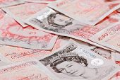 picture of british pound sterling note  - 50 pound sterling bank notes closeup view business background - JPG