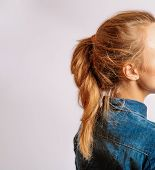 Ponytail With Copyspace. Portrait Of Beautiful Middle Age Blond Woman With Long Dyed Hair. Side View poster