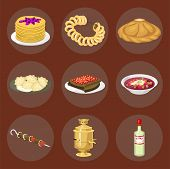 Traditional Russian Cuisine And Culture Dish Course Food Welcome To Russia Gourmet National Meal Vec poster
