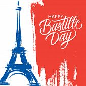 Happy Bastille Day, 14th Of July Brush Stroke Holiday Greeting Card In Colors Of The National Flag O poster