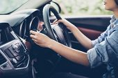 Asian Woman s Hands  Push Button Turn Signal, Button The Car,selective Focus On Hand poster