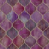 Vintage Decorative Moroccan Seamless Pattern With Gold Line. Watercolor Hand Drawn Dark Purple Endle poster