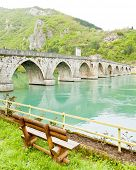 stock photo of former yugoslavia  - bridge over Drina River - JPG
