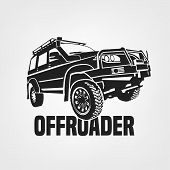Off-road Car. Off-roading Suv Adventure, Extreme Competition Emblem And Car Club Element. Beautiful  poster