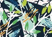Horizontal Abstract Backdrop With Forest Thicket, Tree Branches, Leaves, Colorful Blots And Patches. poster