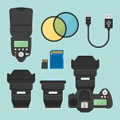 Photography Equipments Set Of Vector Illustration, Design Elements In Flat Style, Photo Camera Top V poster