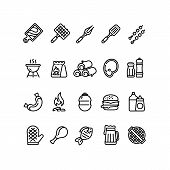 Hot Barbecue And Grill Line Icons. Bbq Outdoor Kitchen Vector Isolated Symbols. Food Sausage And Bur poster