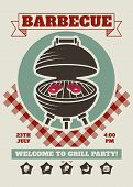 Retro Barbecue Party Restaurant Invitation Template. Bbq Cookout Vector Poster With Classic Charcoal poster