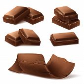 Vector 3d Realistic Chocolate Pieces. Brown Delicious Bars And Chocolate Shavings For Packaging Mock poster