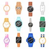 Watch Vector Wristwatch For Businessman Or Fashion Wrist Clock With Clockwork And Clockface Clocked  poster
