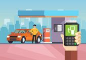 Cartoon Flat Gas Station. Purchase Of Gasoline. Vector Illustration Man Is Refilling Car With Gasoli poster
