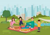 Cartoon Happy Family Eat Pizza On Picnic In Park. Family Leisure Outdoor. Vector Illustration. Clipa poster