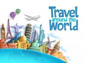 Travel Around The World Vector Background And Template With Famous Landmarks And Tourist Destination poster