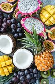 Exotic Or Tropical Fruits Assortment. Pineapple, Coconut, Passion Fruit, Pitaya, Grapes And Kiwi. Gr poster