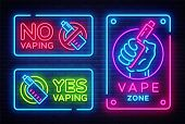 Vaping Neon Signs Collection Vector Template, Light Banner, Bright Night Illustration, Symbol, Place poster